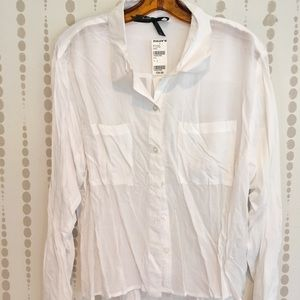 White cotton sheer blouse
